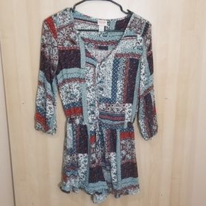 Mossimo 3/4 Sleeve Patchwork Print Romper Small